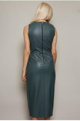 Little Mistress Pu Knot Waist Detail Bodycon Dress