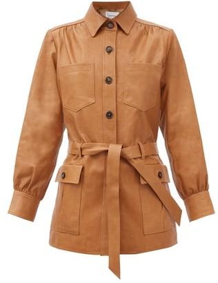 Frame Belted Leather Jacket - Camel