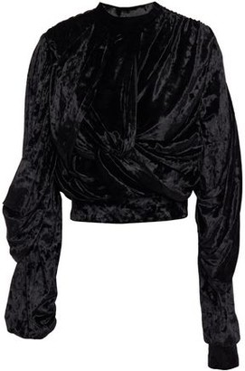 Y/Project Cropped Twist-front Draped Crushed-velvet Top