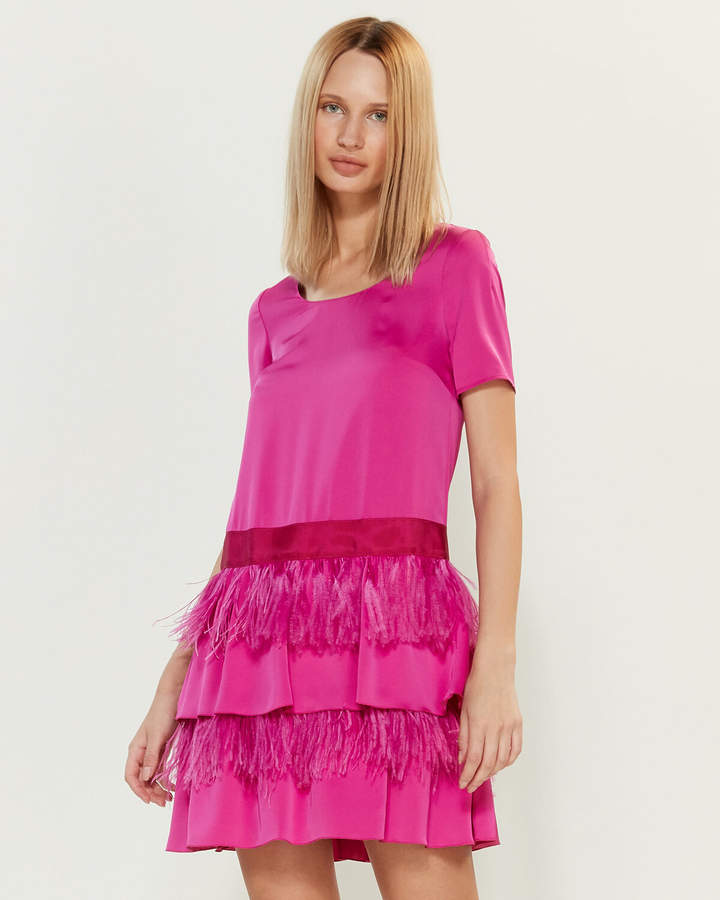 Blugirl Tiered Feather Shift Dress