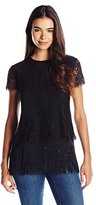 Nicole Miller Women's Fringe and Lace Short Sleeve Top