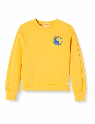 Scotch & Soda Girl's Crew Neck Sweat in New Clean Quality with Placed Artworks Sweatshirt