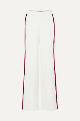 La Ligne Tuxedo Grosgrain-trimmed Crepe Wide-leg Pants - White