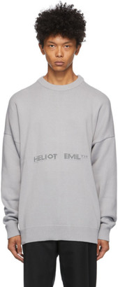 Heliot Emil Grey Oversized Logo Sweater