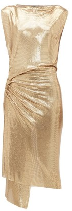 Paco Rabanne Gathered Chainmail Dress - Gold