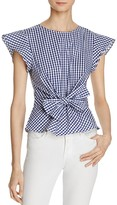 Lucy Paris Belted Ruffle Sleeve Gingham Top - 100% Exclusive