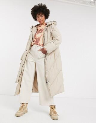 Monki hooded midi puffer coat in dusty beige