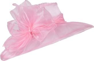 LUCK Women's Floral Organza Church Cap Lady Wedding Bowler Wide Brim Sun Hat (Gray)