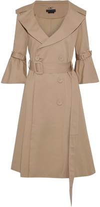 Alice + Olivia Carver Belted Pleated Cotton-blend Twill Trench Coat