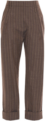 Brunello Cucinelli Cropped Pinstriped Wool Tapered Pants
