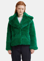 MSGM Oversized Faux Fur Jacket in Green