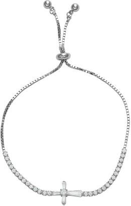 Cubic Zirconia Baguette Sideways Cross Adjustable Bracelet