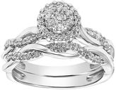 Cherish Always 10k White Gold 1/3 Carat T.W. Diamond Halo Engagement Ring Set