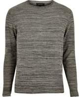 River Island Mens Dark grey knitted crew neck jumper