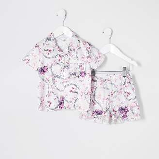 River Island Mini girls pink floral satin pyjamas