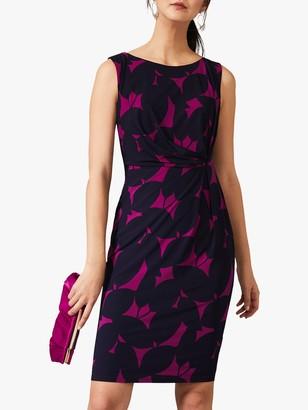 Phase Eight Giselle Leaf Print Shift Dress, Navy/Bright Plum