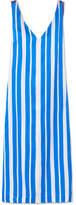 Mother of Pearl Maisie Striped Silk-satin Midi Dress - Blue