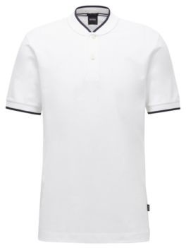 BOSS Cotton-pique polo shirt with baseball collar