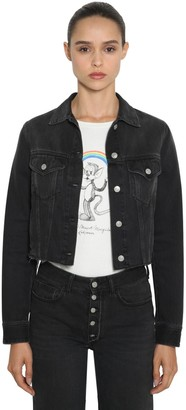 MM6 MAISON MARGIELA Raw Hem Cropped Cotton Denim Jacket