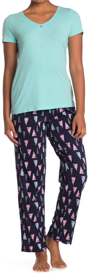 Nautica T-Shirt & Printed Pants 2-Piece Pajama Set