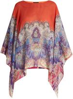 Etro Paisley-print round-neck silk poncho