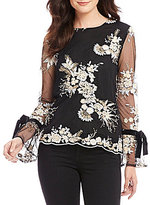 WAYF Willow Bell Tie Sleeve Embroidered Mesh Top