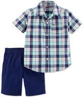 Carter's 2-Pc. Plaid Cotton Shirt & Shorts Set, Toddler Boys