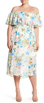 Sandra Darren Off-the-Shoulder Floral Dress (Plus Size)