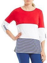 Multiples Roll-Tab Sleeve Solid & Stripe High-Low Hem Knit Top