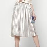 Maje Metallic basket knit skirt