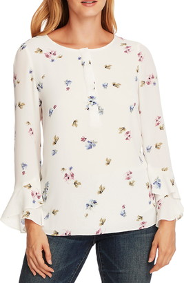 Vince Camuto Flutter Cuff Romantic Buds Blouse