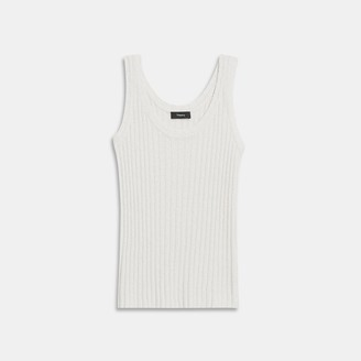Theory Ribbed Tank in Silk Boucle