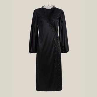 Christopher Kane Black Lace-Trim Jersey Wrap Dress IT 48