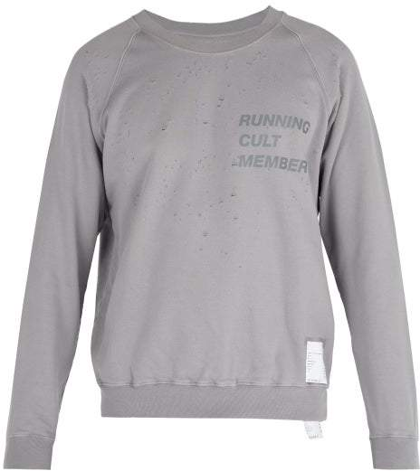 Satisfy Cult Distressed Cotton Sweater - Mens - Light Grey