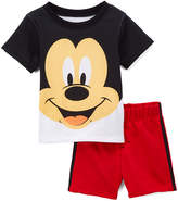 Children's Apparel Network Mickey Mouse Black Crewneck Tee & Red Shorts - Infant