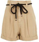 Topshop Sand paperbag shorts