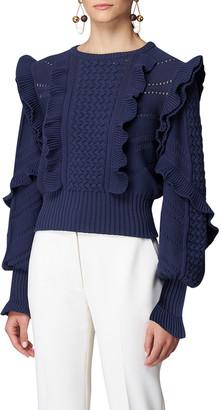Carolina Herrera Knit Bishop-Sleeve Ruffle Sweater