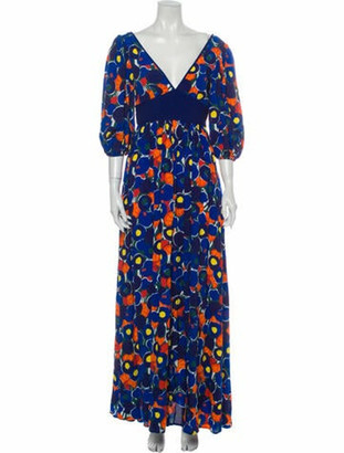 STAUD Floral Print Long Dress Blue