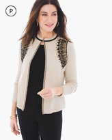 Chico's Beaded Seed Stitch Cardigan