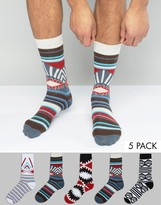 Asos Socks With Aztec Design 5 Pack