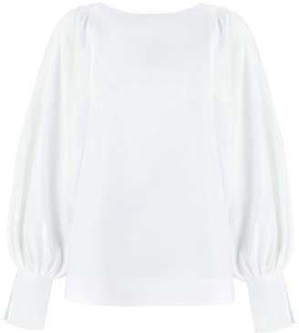Monica Nera Aida White Cotton Long-Sleeve Blouse
