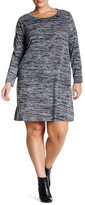Bobeau Long Sleeve Crew Neck Swing Dress (Plus Size)
