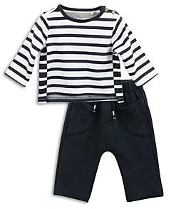 Oliver & Rain Boys' Organic Cotton Mixed Stripe Top & Solid Pants Set - Baby