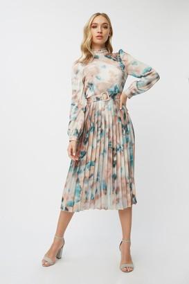 Little Mistress Mishka Agate-Print Belted Midi Dress