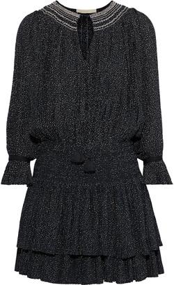 Vanessa Bruno Jolie Plisse Polka-dot Crepe Mini Dress