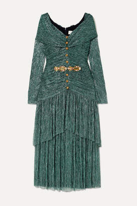 Peter Pilotto Crystal-embellished Plissé-lamé Midi Dress - Green