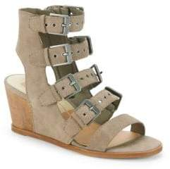 Dolce Vita Laken Caged Leather Wedge Sandals