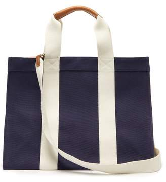 Rue De Verneuil - Tote Large Leather-trimmed Canvas Bag - Womens - Navy Multi