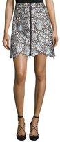 Self-Portrait Self Portrait Poppy Floral-Lace Front-Zip Mini Skirt