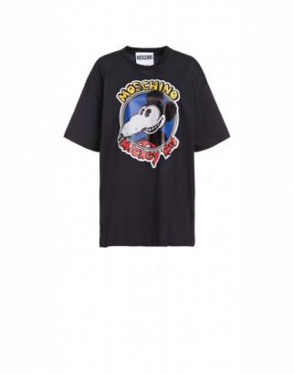 Moschino Mickey Rat Cotton Jersey T-shirt Woman Black Size L It